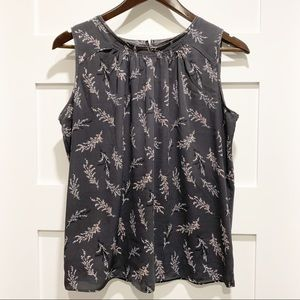 🔥 LOFT Grey Floral Sleeveless Blouse